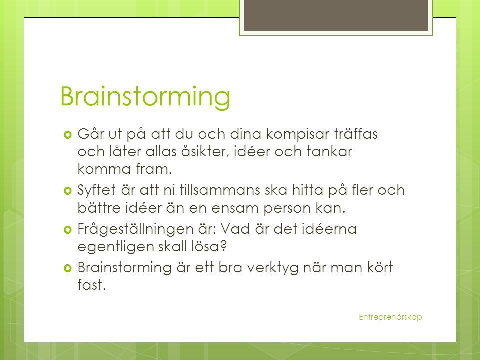 Brainstorming  Går ut på att du och dina kompisar träffas och låter allas åsikter, idéer och tankar komma fram.  Syftet är att ni tillsammans ska hi