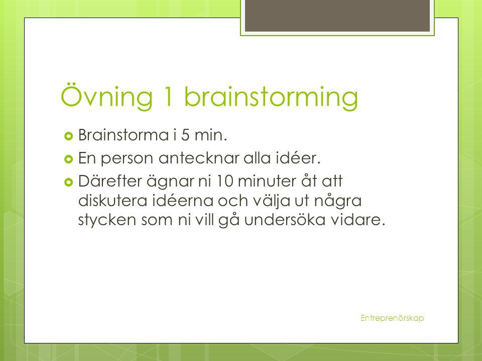 Övning 1 brainstorming  Brainstorma i 5 min.  En person antecknar alla idéer.  Därefter ägnar ni 10 minuter åt att diskutera idéerna och välja ut n