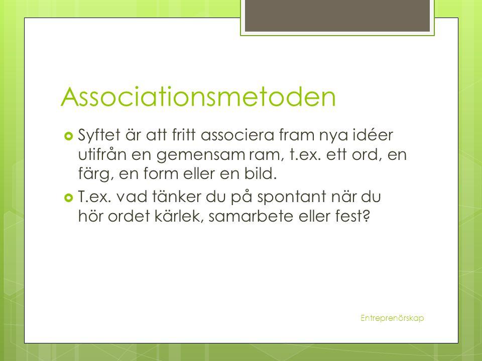 Associationsmetoden  Syftet är att fritt associera fram nya idéer utifrån en gemensam ram, t.ex. ett ord, en färg, en form eller en bild.  T.ex. vad