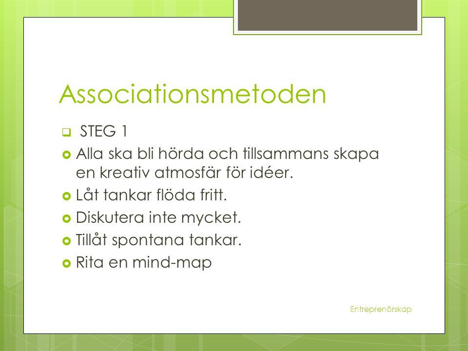 Associationsmetoden  STEG 1  Alla ska bli hörda och tillsammans skapa en kreativ atmosfär för idéer.  Låt tankar flöda fritt.  Diskutera inte myck