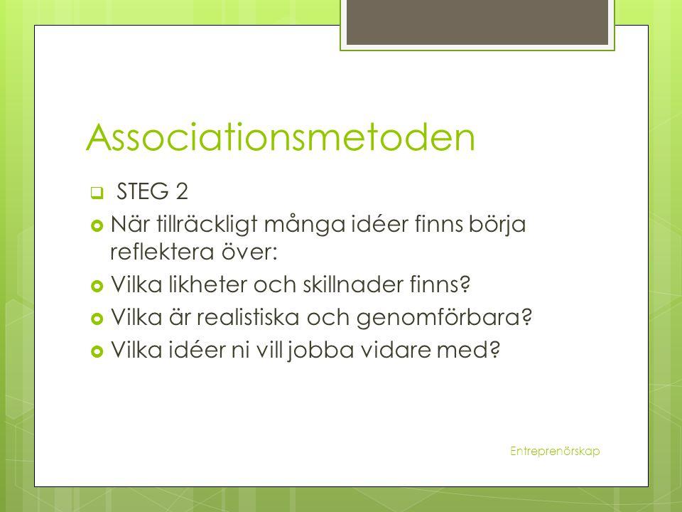 Associationsmetoden  STEG 2  När tillräckligt många idéer finns börja reflektera över:  Vilka likheter och skillnader finns?  Vilka är realistiska