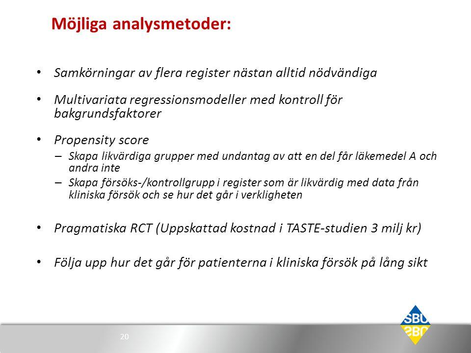 Möjliga analysmetoder: • Samkörningar av flera register nästan alltid nödvändiga • Multivariata regressionsmodeller med kontroll för bakgrundsfaktorer