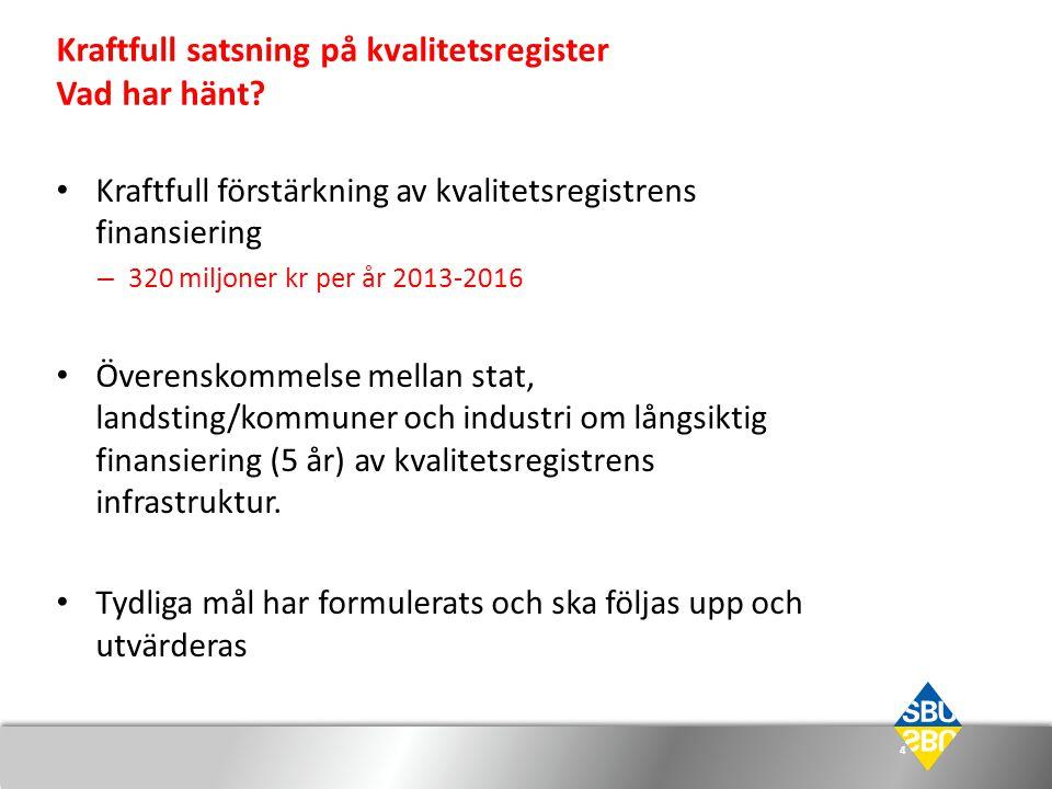 Kraftfull satsning på kvalitetsregister Vad har hänt? 4 • Kraftfull förstärkning av kvalitetsregistrens finansiering – 320 miljoner kr per år 2013-201