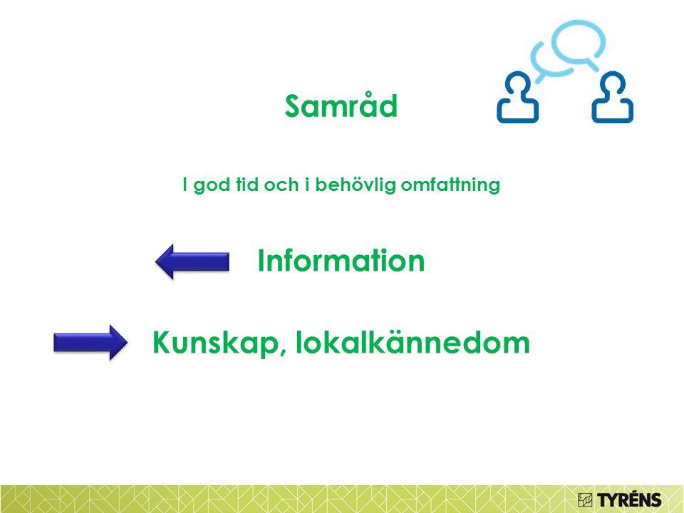 Samråd I god tid och i behövlig omfattning Information Kunskap, lokalkännedom
