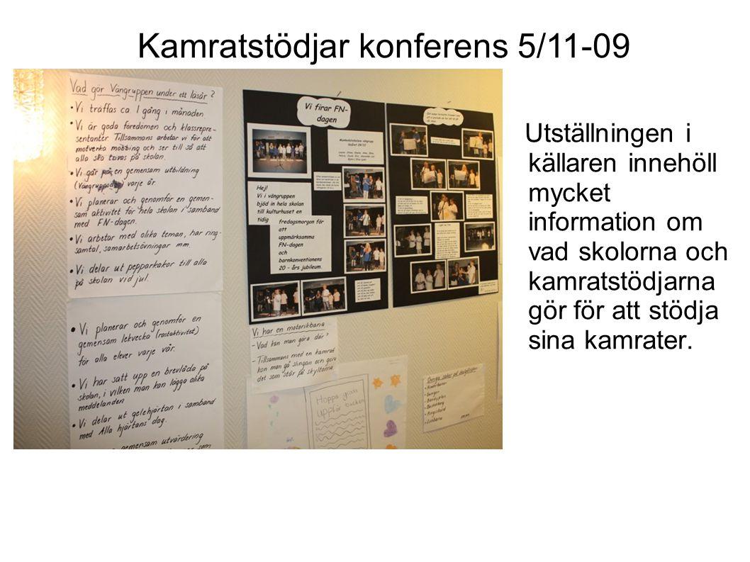 Utställningen i källaren innehöll mycket information om vad skolorna och kamratstödjarna gör för att stödja sina kamrater.