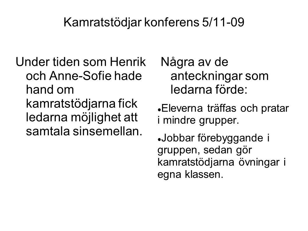 Under tiden som Henrik och Anne-Sofie hade hand om kamratstödjarna fick ledarna möjlighet att samtala sinsemellan. Några av de anteckningar som ledarn
