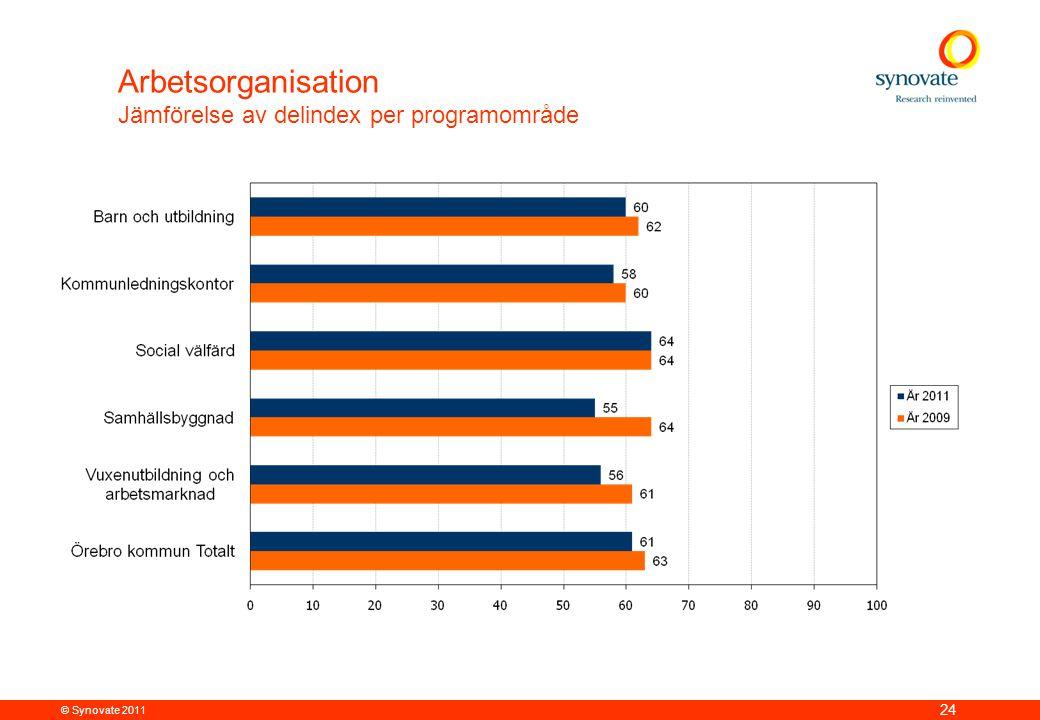 © Synovate 2011 24 Arbetsorganisation Jämförelse av delindex per programområde