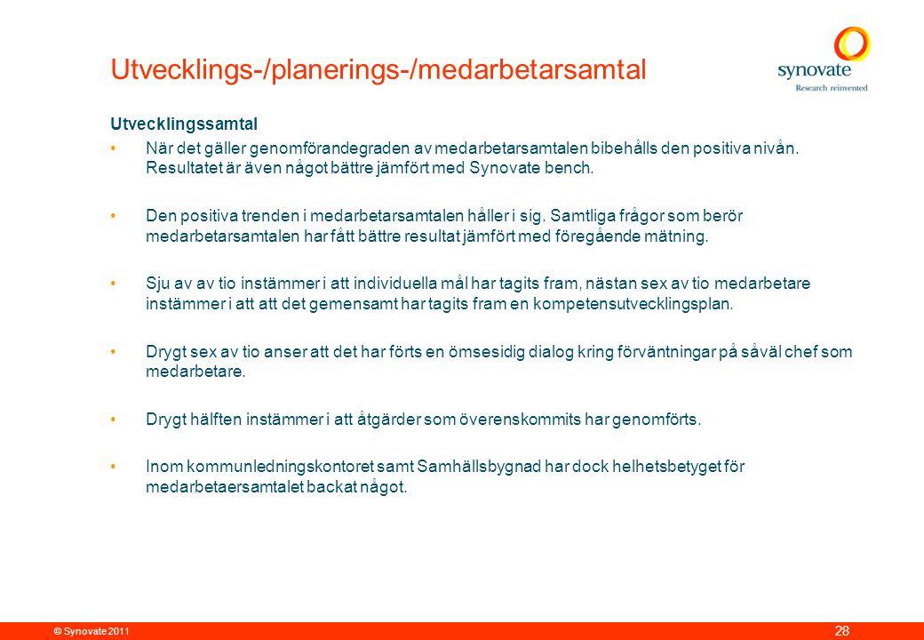 © Synovate 2011 28 Utvecklings-/planerings-/medarbetarsamtal Utvecklingssamtal •När det gäller genomförandegraden av medarbetarsamtalen bibehålls den positiva nivån.