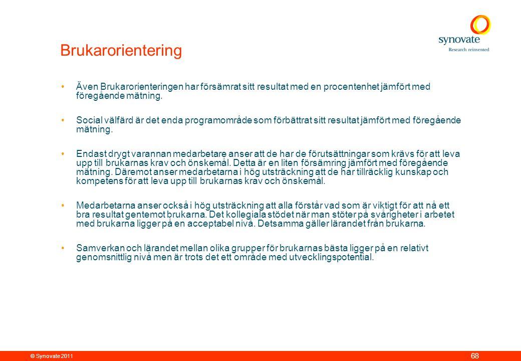 © Synovate 2011 68 Brukarorientering •Även Brukarorienteringen har försämrat sitt resultat med en procentenhet jämfört med föregående mätning.