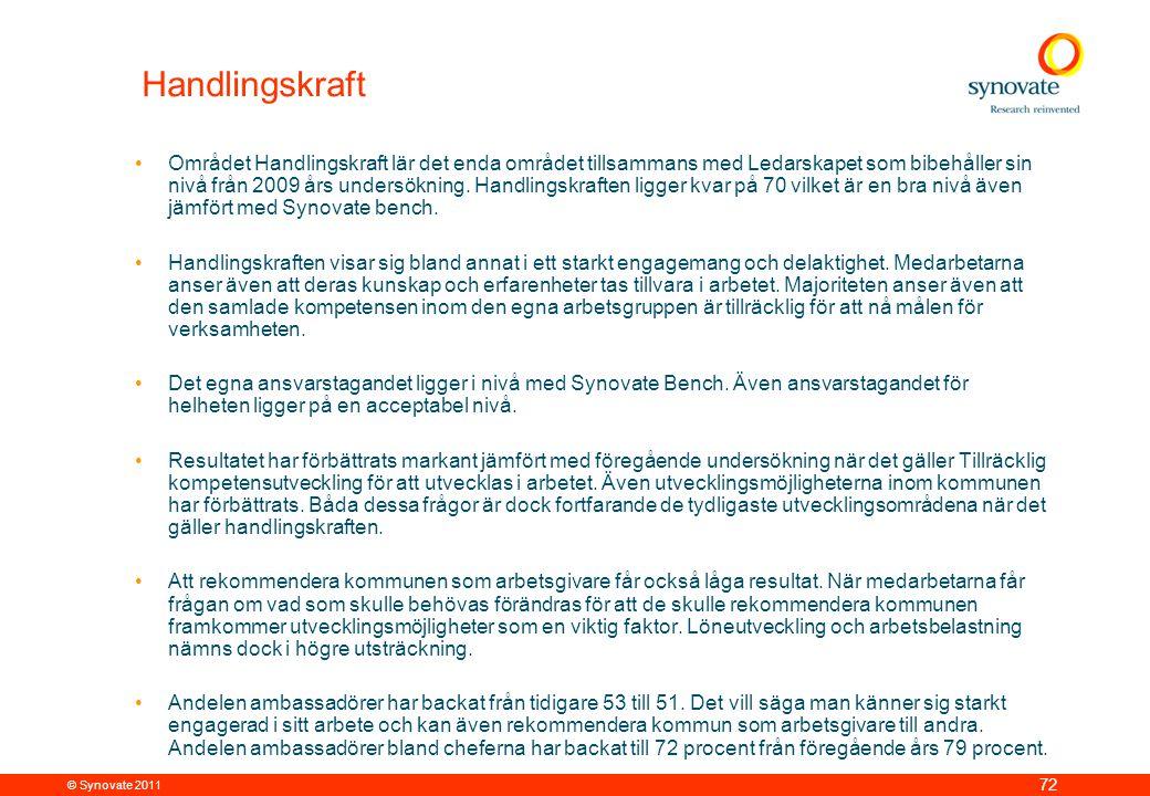 © Synovate 2011 72 Handlingskraft •Området Handlingskraft lär det enda området tillsammans med Ledarskapet som bibehåller sin nivå från 2009 års undersökning.