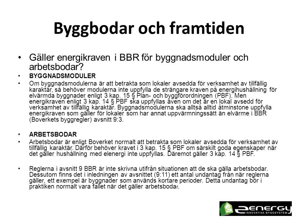 Byggbodar och framtiden •Gäller energikraven i BBR för byggnadsmoduler och arbetsbodar.