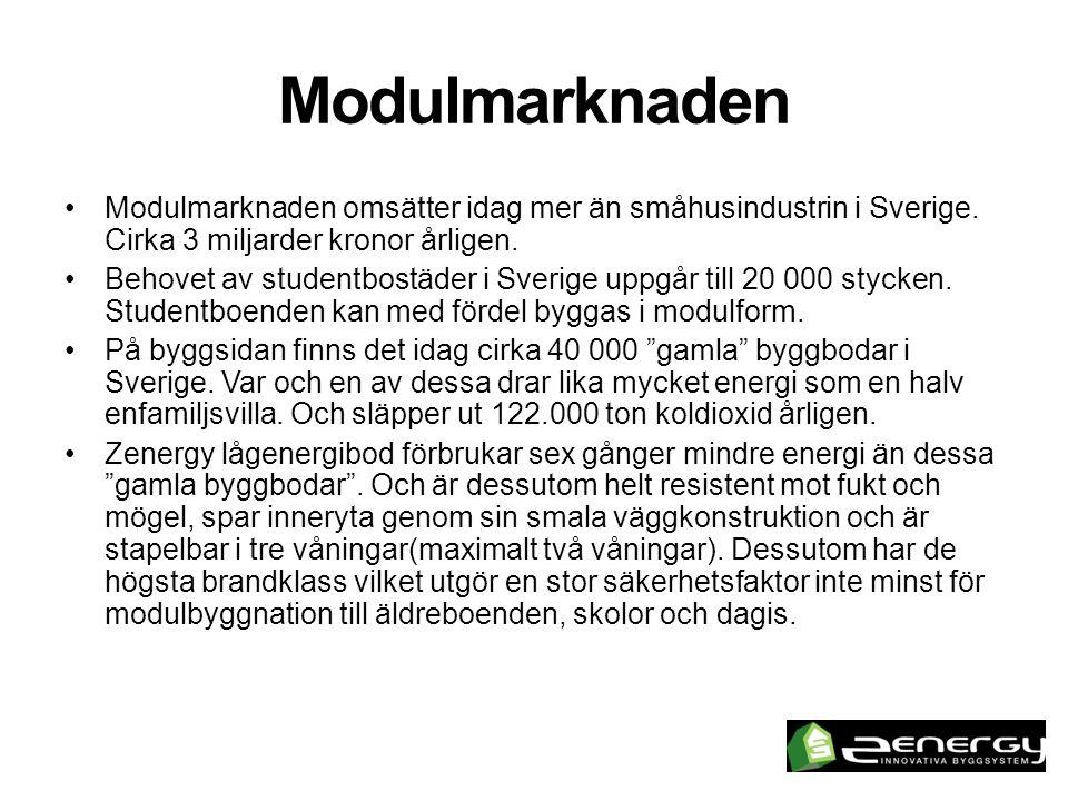 Nuläge •Trots en svensk byggindustri i kris (under första tre kvartalen 2012 minskade påbörjade lägenheter i småhus med 45%) så tar Zenergy AB marknadsandelar och ökar sin försäljning.