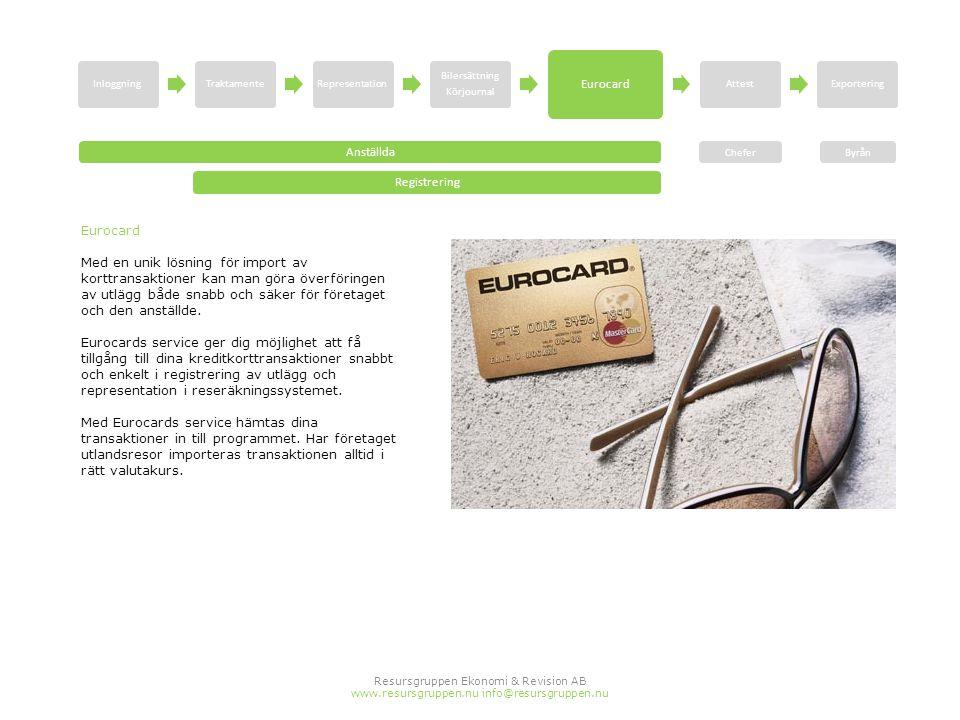 Resursgruppen Ekonomi & Revision AB www.resursgruppen.nu info@resursgruppen.nu Eurocard Med en unik lösning för import av korttransaktioner kan man gö