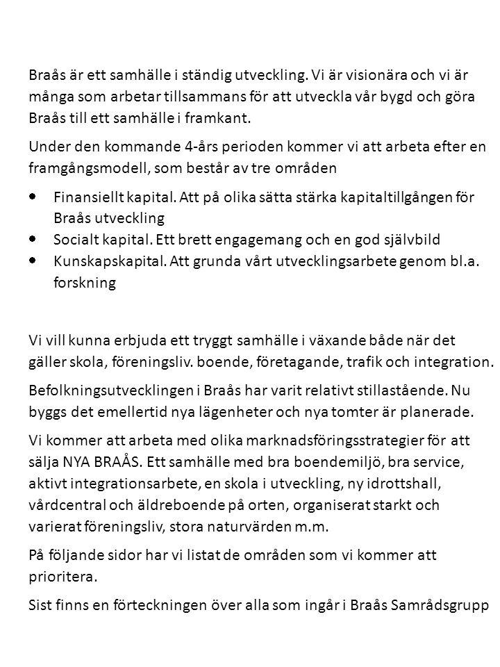 I Braås är ett samhälle i ständig utveckling. Vi är visionära och vi är många som arbetar tillsammans för att utveckla vår bygd och göra Braås till et