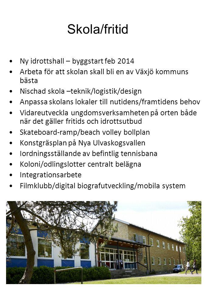 Skola/fritid •Ny idrottshall – byggstart feb 2014 •Arbeta för att skolan skall bli en av Växjö kommuns bästa •Nischad skola –teknik/logistik/design •A
