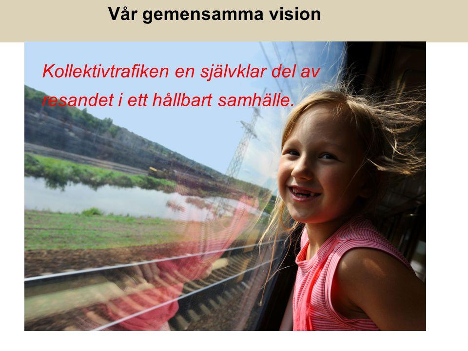 Kollektivtrafiken en självklar del av resandet i ett hållbart samhälle. Vår gemensamma vision