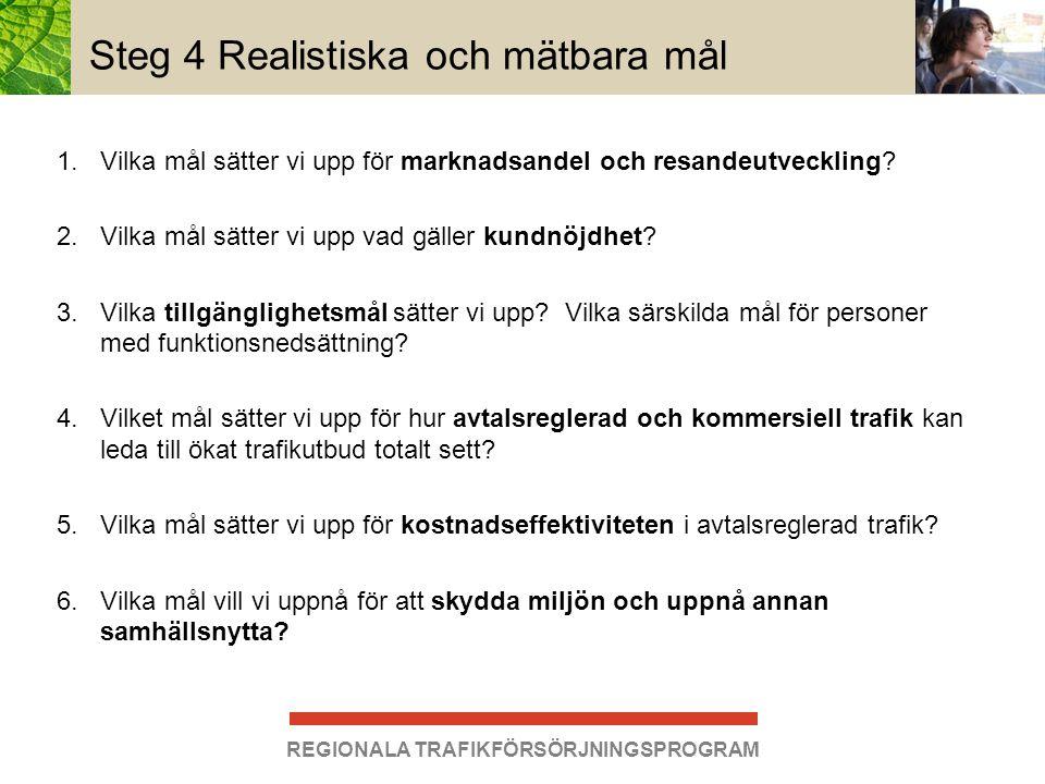 REGIONALA TRAFIKFÖRSÖRJNINGSPROGRAM Steg 4 Realistiska och mätbara mål 1.Vilka mål sätter vi upp för marknadsandel och resandeutveckling? 2.Vilka mål