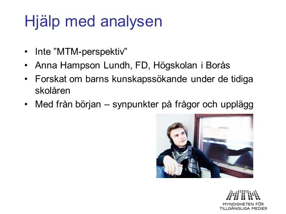"""Hjälp med analysen •Inte """"MTM-perspektiv"""" •Anna Hampson Lundh, FD, Högskolan i Borås •Forskat om barns kunskapssökande under de tidiga skolåren •Med f"""