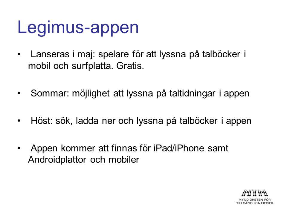 Legimus-appen • Lanseras i maj: spelare för att lyssna på talböcker i mobil och surfplatta. Gratis. • Sommar: möjlighet att lyssna på taltidningar i a