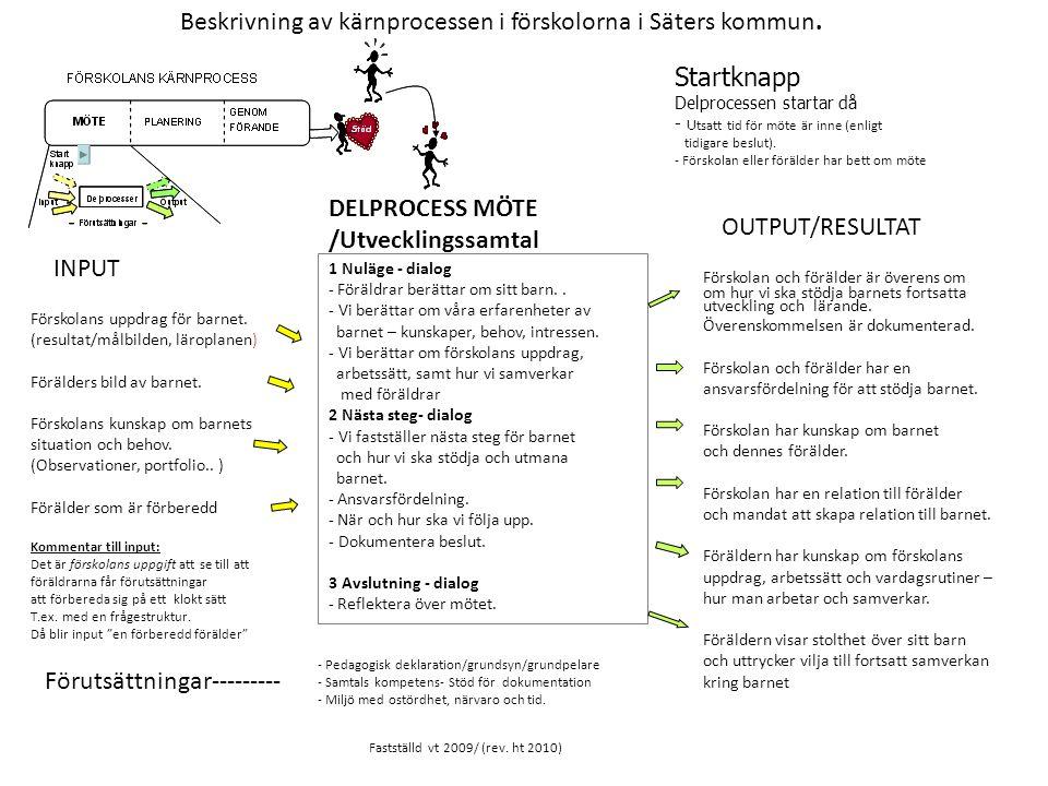 Beskrivning av kärnprocessen i förskolorna i Säters kommun.