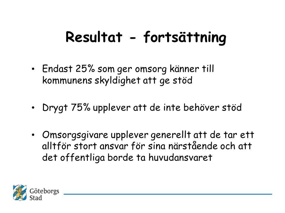Resultat - fortsättning • Endast 25% som ger omsorg känner till kommunens skyldighet att ge stöd • Drygt 75% upplever att de inte behöver stöd • Omsor