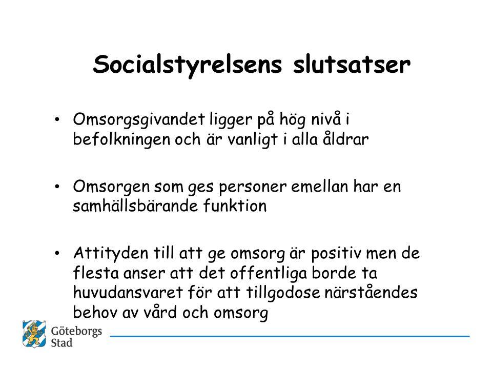 Socialstyrelsens slutsatser • Omsorgsgivandet ligger på hög nivå i befolkningen och är vanligt i alla åldrar • Omsorgen som ges personer emellan har e
