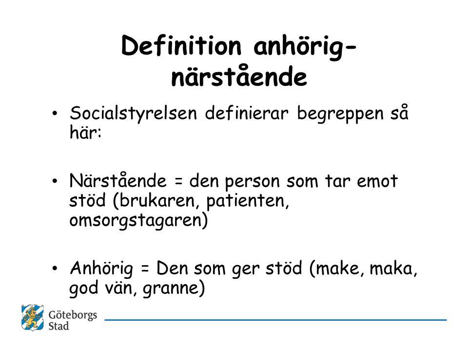 Definition anhörig- närstående • Socialstyrelsen definierar begreppen så här: • Närstående = den person som tar emot stöd (brukaren, patienten, omsorg