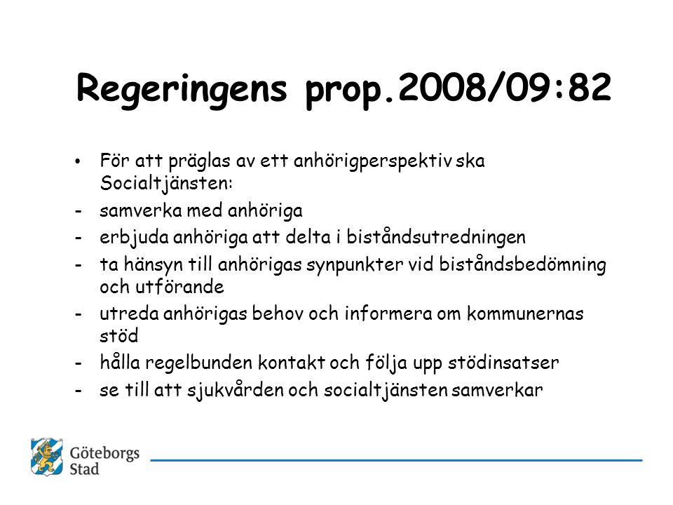 Regeringens prop.2008/09:82 • För att präglas av ett anhörigperspektiv ska Socialtjänsten: -samverka med anhöriga -erbjuda anhöriga att delta i bistån