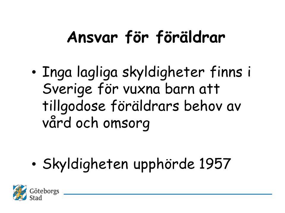Ansvar för föräldrar • Inga lagliga skyldigheter finns i Sverige för vuxna barn att tillgodose föräldrars behov av vård och omsorg • Skyldigheten upph