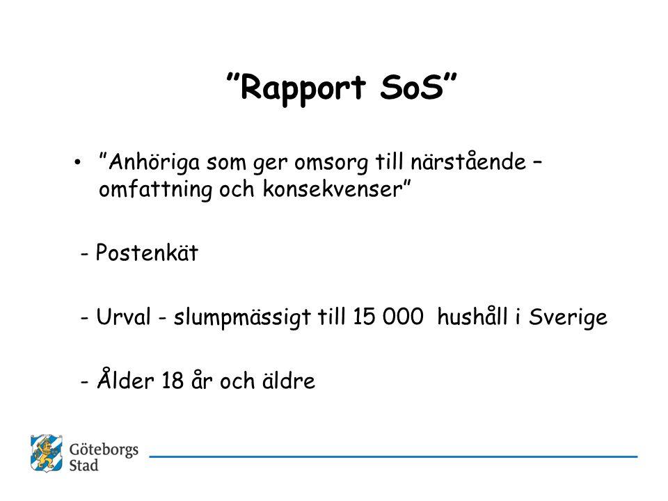 """""""Rapport SoS"""" • """"Anhöriga som ger omsorg till närstående – omfattning och konsekvenser"""" - Postenkät - Urval - slumpmässigt till 15 000 hushåll i Sveri"""