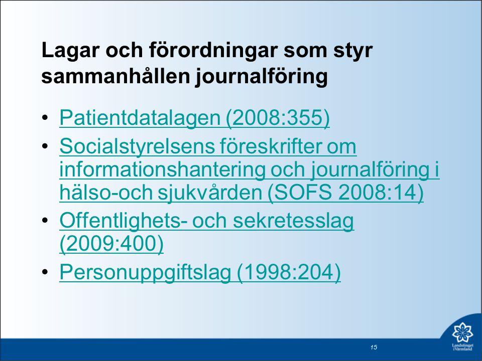 Lagar och förordningar som styr sammanhållen journalföring •Patientdatalagen (2008:355)Patientdatalagen (2008:355) •Socialstyrelsens föreskrifter om i
