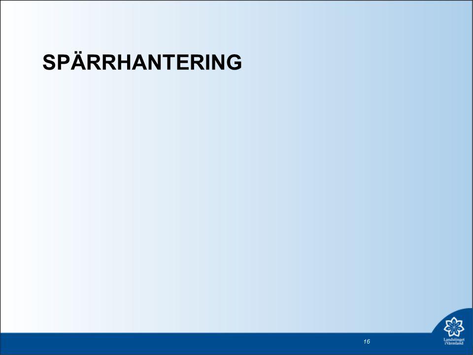 SPÄRRHANTERING 16