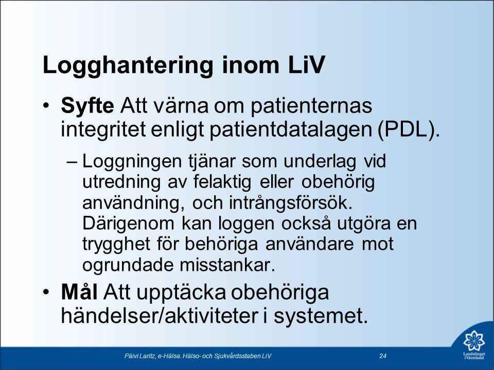 Logghantering inom LiV •Syfte Att värna om patienternas integritet enligt patientdatalagen (PDL). –Loggningen tjänar som underlag vid utredning av fel