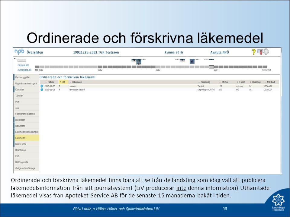 Ordinerade och förskrivna läkemedel Päivi Laritz, e-Hälsa. Hälso- och Sjukvårdsstaben LiV35 Ordinerade och förskrivna läkemedel finns bara att se från