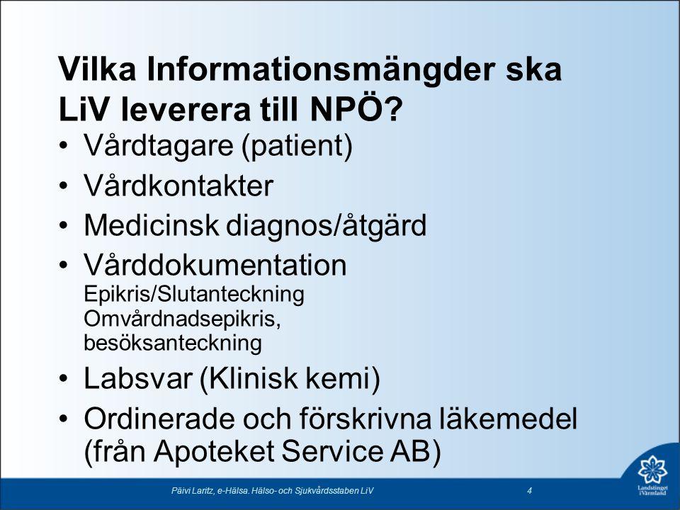 Vad levereras inte till NPÖ •Person-/journaluppgifter för personer som är avlidna •Person-/journaluppgifter för personer med Skyddad identitet •Person-/journaluppgifter på patienter med Reservnummer Päivi Laritz, e-Hälsa.