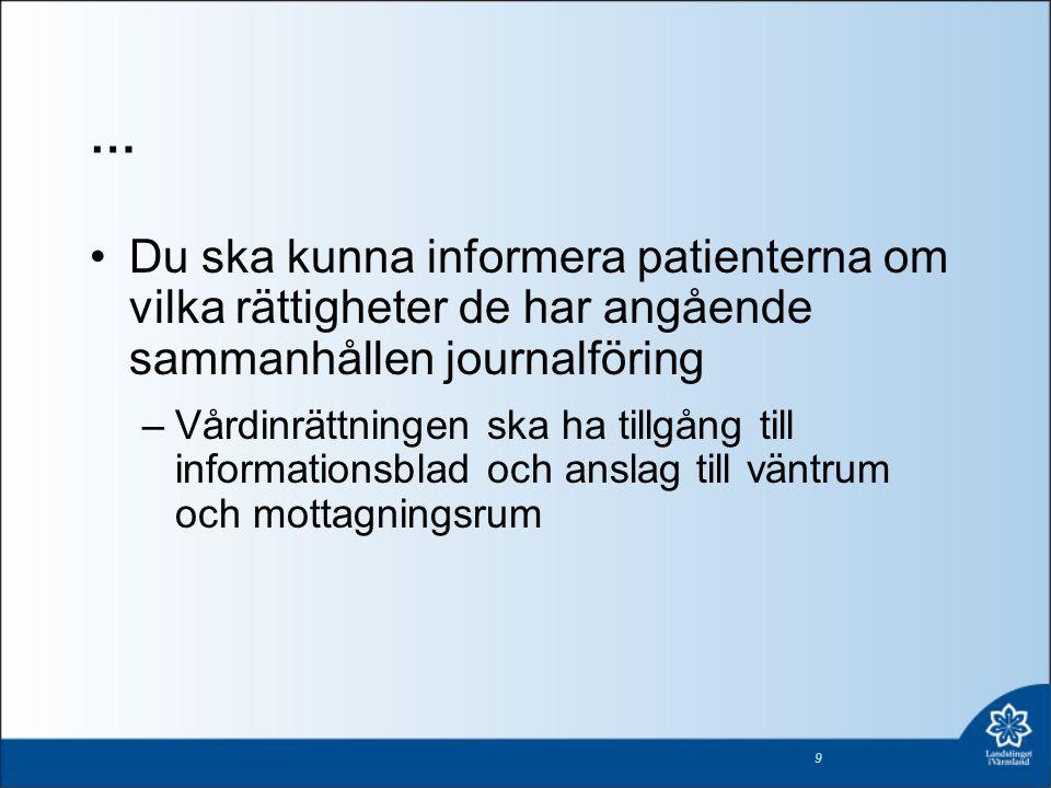 … •Du ska kunna informera patienterna om vilka rättigheter de har angående sammanhållen journalföring –Vårdinrättningen ska ha tillgång till informati
