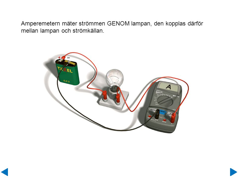 Amperemetern mäter strömmen GENOM lampan, den kopplas därför mellan lampan och strömkällan. + –