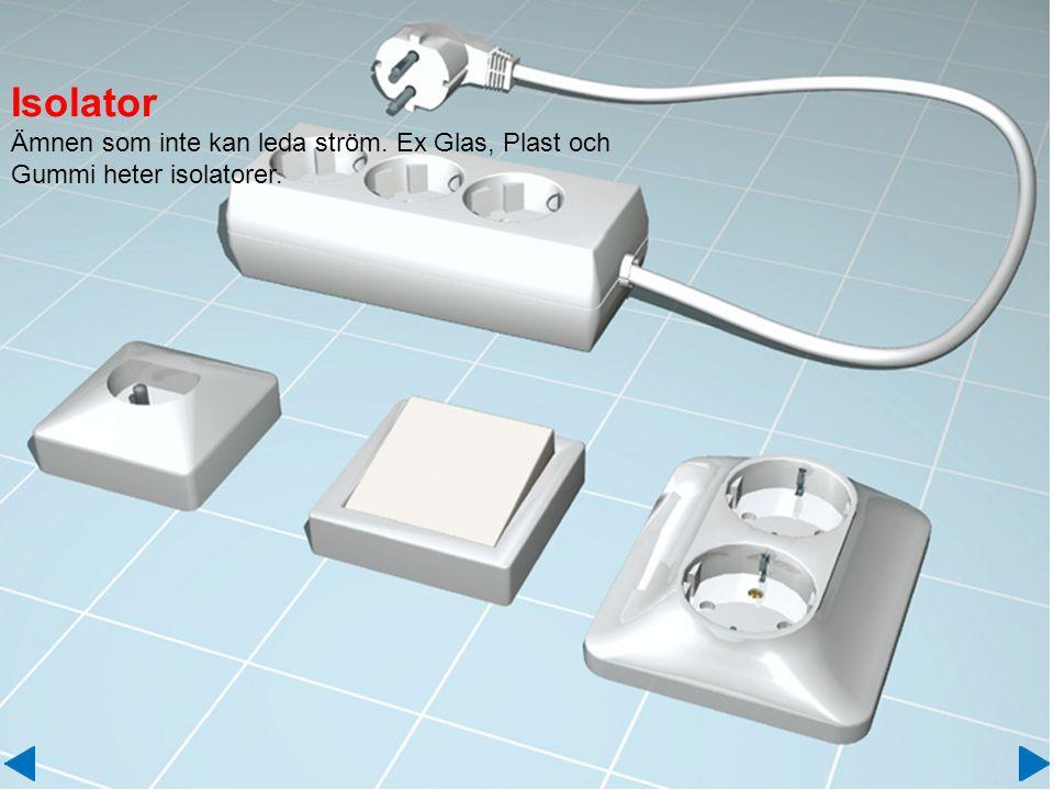 Isolator Ämnen som inte kan leda ström. Ex Glas, Plast och Gummi heter isolatorer.
