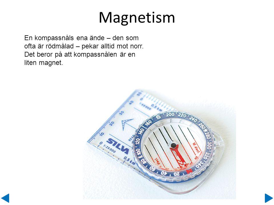 Magnetism En kompassnåls ena ände – den som ofta är rödmålad – pekar alltid mot norr. Det beror på att kompassnålen är en liten magnet.