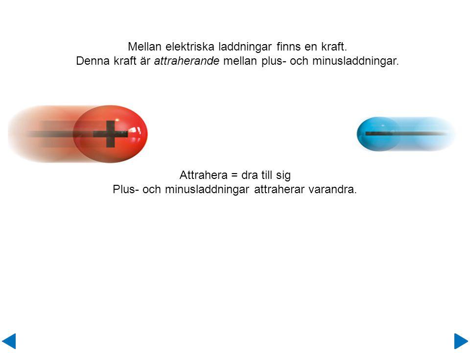 Attrahera = dra till sig Plus- och minusladdningar attraherar varandra. Mellan elektriska laddningar finns en kraft. Denna kraft är attraherande mella