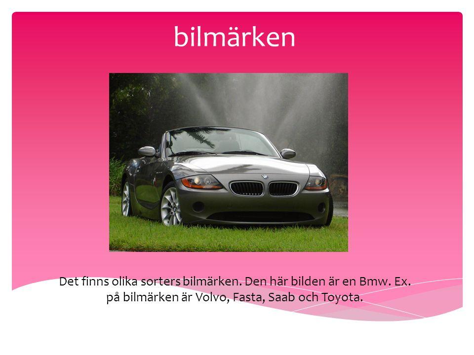 bilmärken Det finns olika sorters bilmärken. Den här bilden är en Bmw. Ex. på bilmärken är Volvo, Fasta, Saab och Toyota.