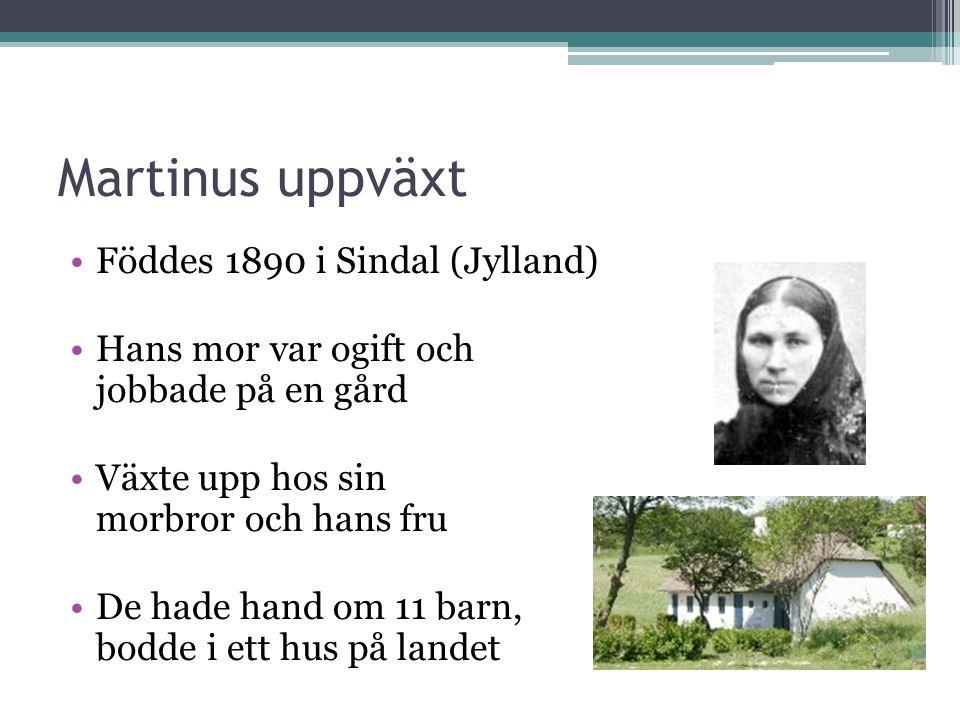 Martinus uppväxt •Föddes 1890 i Sindal (Jylland) •Hans mor var ogift och jobbade på en gård •Växte upp hos sin morbror och hans fru •De hade hand om 11 barn, bodde i ett hus på landet
