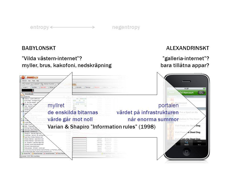 """entropynegentropy myllret de enskilda bitarnas värde går mot noll portalen värdet på infrastrukturen når enorma summor Varian & Shapiro """"Information r"""
