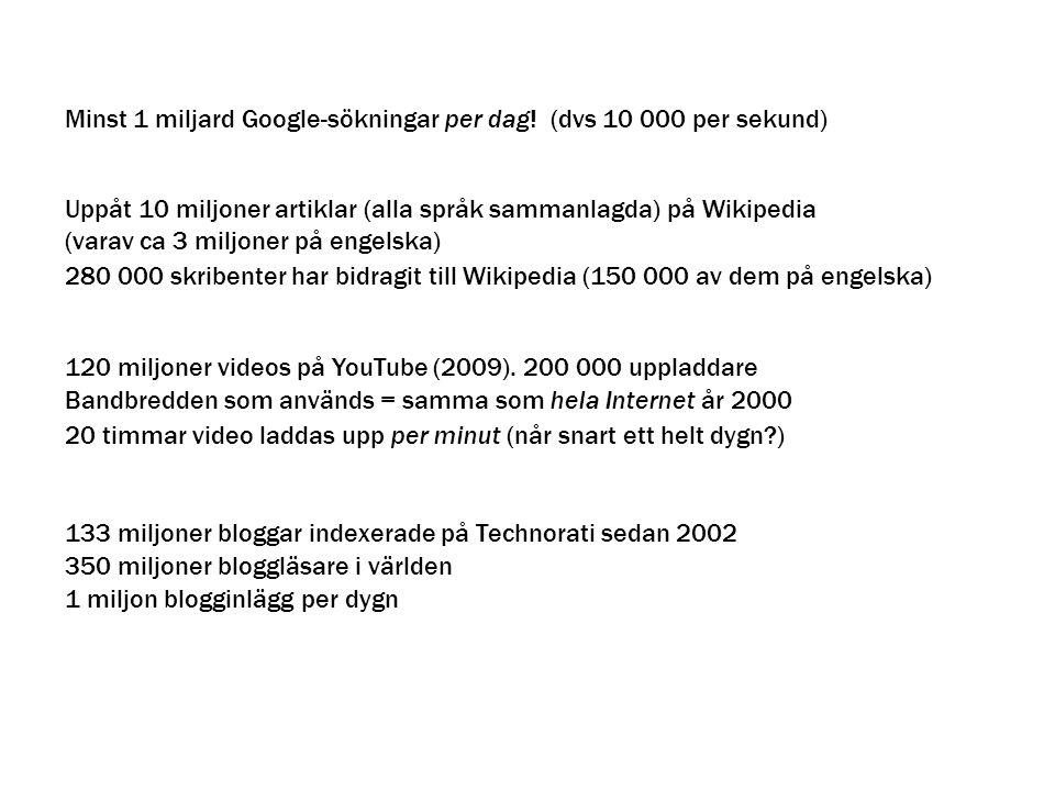 Minst 1 miljard Google-sökningar per dag! (dvs 10 000 per sekund) Uppåt 10 miljoner artiklar (alla språk sammanlagda) på Wikipedia (varav ca 3 miljone