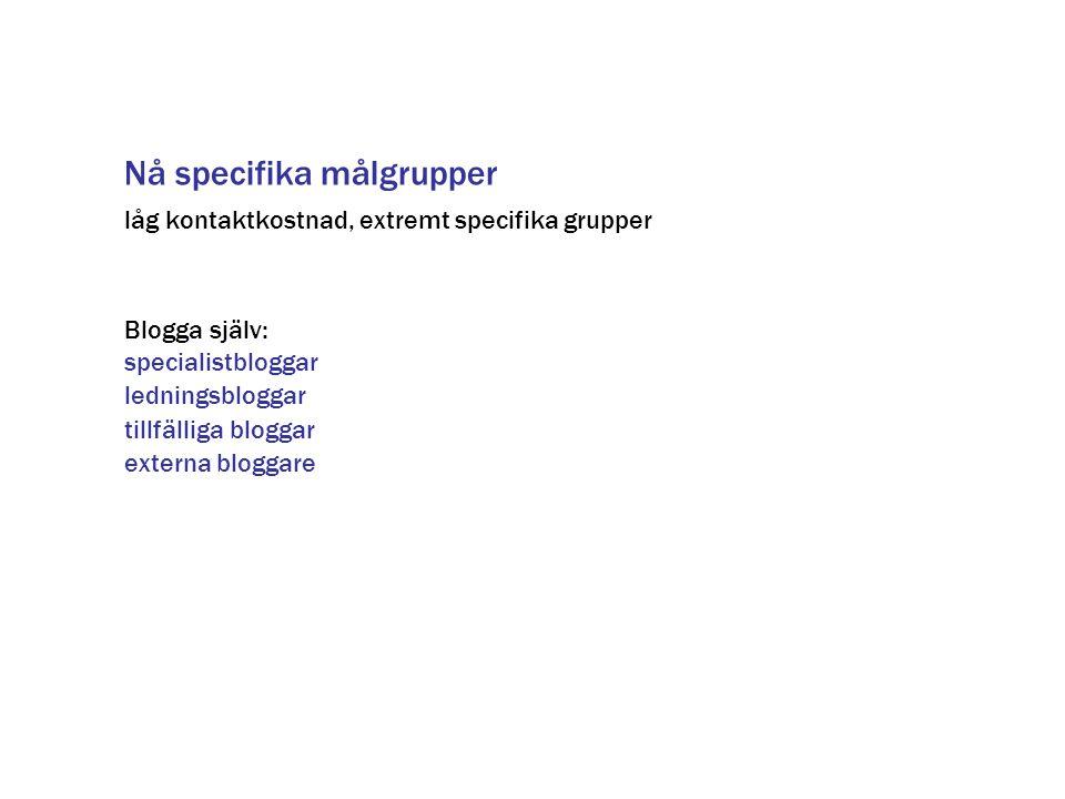 Nå specifika målgrupper Blogga själv: specialistbloggar ledningsbloggar tillfälliga bloggar låg kontaktkostnad, extremt specifika grupper externa blog
