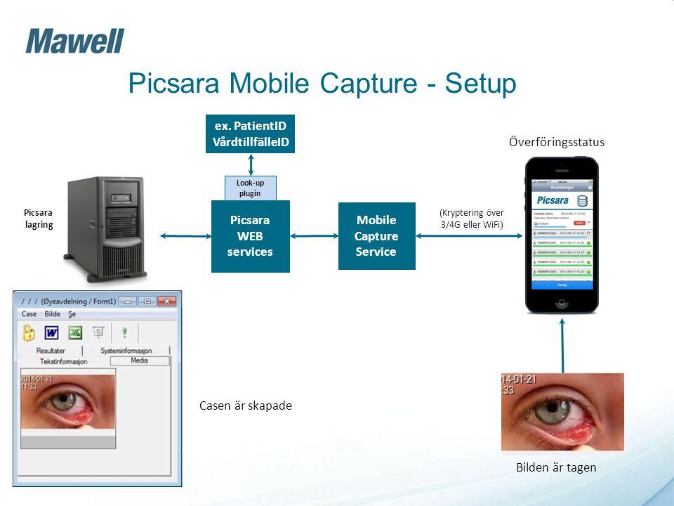 Picsara Mobile Capture - Setup Mobile Capture Service Picsara WEB services Picsara lagring (Kryptering över 3/4G eller WiFi ) Look-up plugin ex. Patie