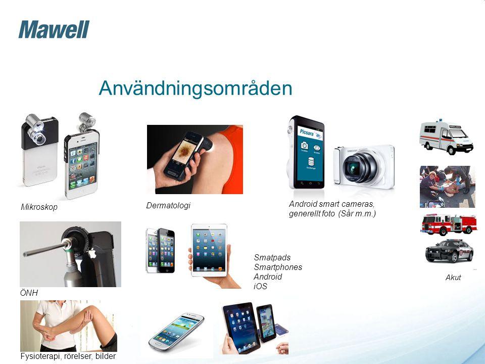 Användningsområden Mikroskop Dermatologi Android smart cameras, generellt foto (Sår m.m.) ÖNH Fysioterapi, rörelser, bilder Smatpads Smartphones Andro