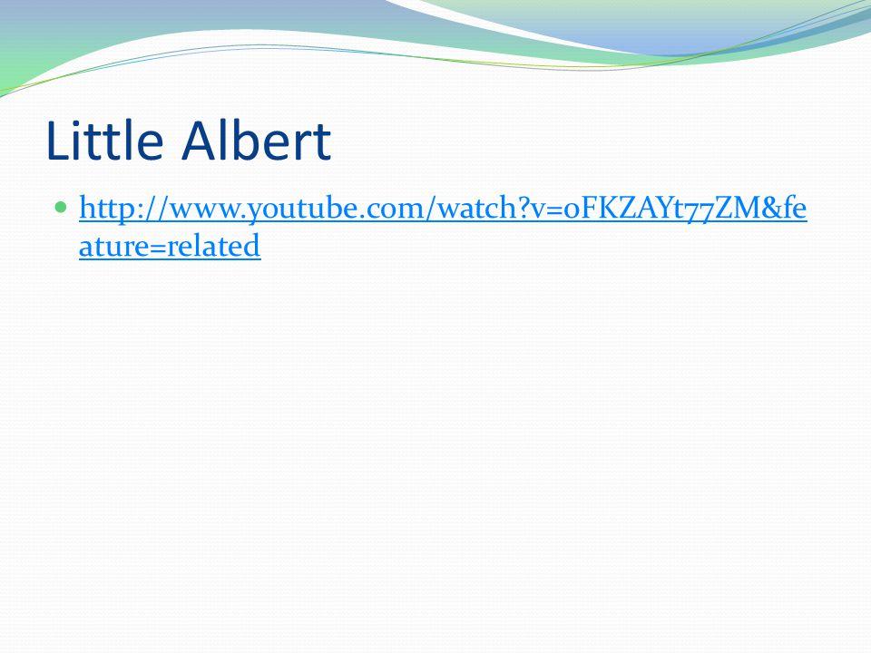 Little Albert  http://www.youtube.com/watch?v=0FKZAYt77ZM&fe ature=related http://www.youtube.com/watch?v=0FKZAYt77ZM&fe ature=related