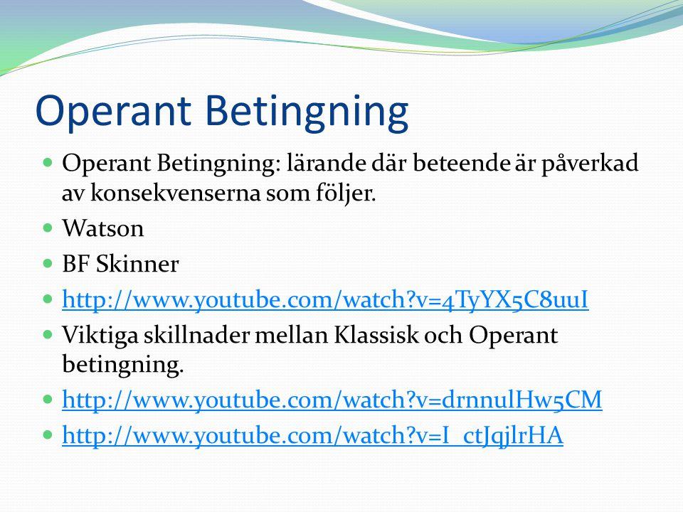 Operant Betingning  Operant Betingning: lärande där beteende är påverkad av konsekvenserna som följer.  Watson  BF Skinner  http://www.youtube.com