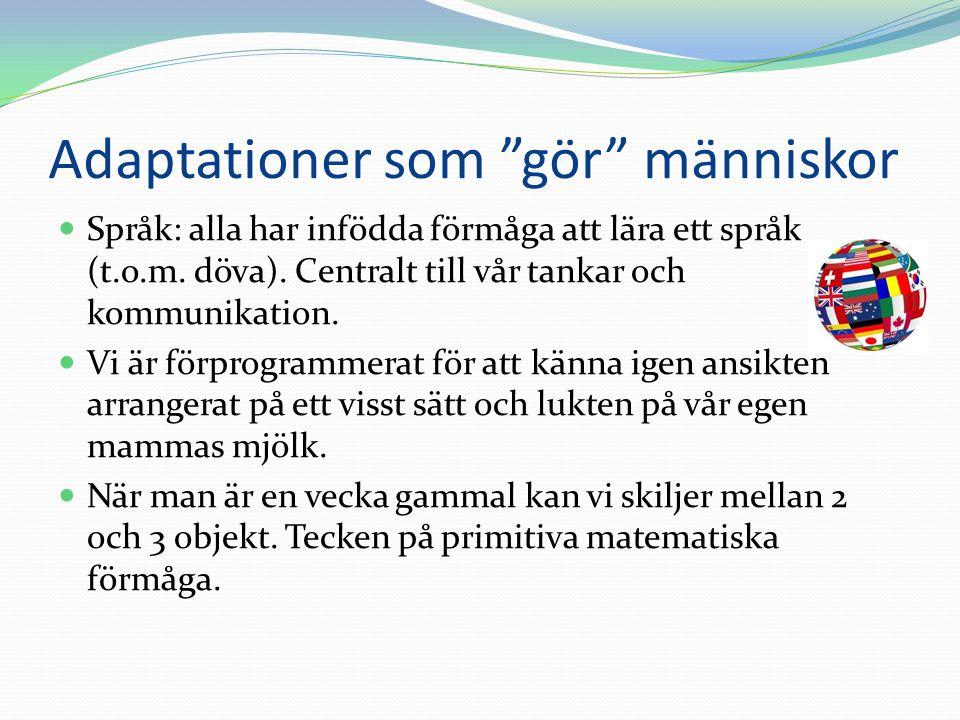 """Adaptationer som """"gör"""" människor  Språk: alla har infödda förmåga att lära ett språk (t.o.m. döva). Centralt till vår tankar och kommunikation.  Vi"""